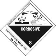 Numbered Panel Proper Shipping Name Labels - Class 8 - Corrosive UN 1791 Hypochlorite Solution Pkg Qty 500