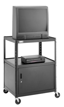 Da-Lite 34 High Unassembled Black Cart with 25 x 30 Shelf 5 Casters Metal Cabinet and Electrical Assembly