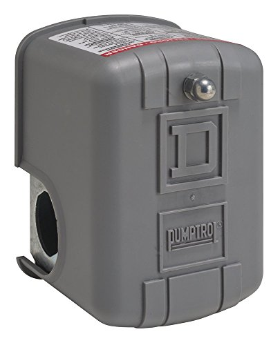 Square D by Schneider Electric 9013FRG33J36M3 NEMA 1 Air-Pump Pressure Switch 10-5 psi Pressure Setting 4-25 psi Cut-Out 6-20 psi Reverse-Acting Adjustable Differential AutoStart Cut-In Lever