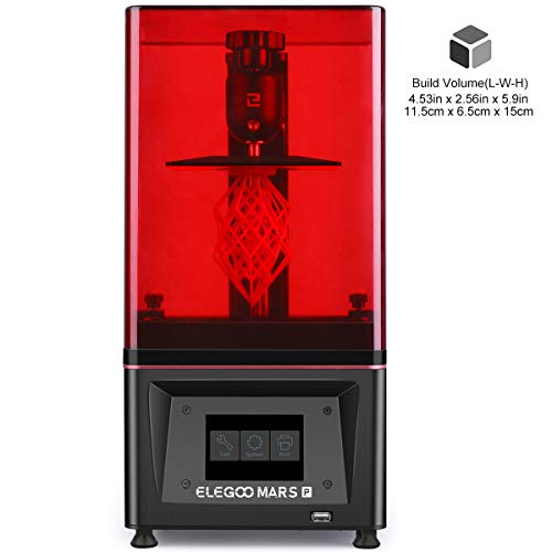 ELEGOO Mars Pro MSLA 3D Printer UV Photocuring LCD 3D Printer with Matrix UV LED Light Source Built-in Activated CarbonOff-Line Print 453inL x 256inW x 59inH Printing Size