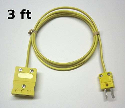K-Type Thermocouple Extension Adapter Cable Wire with Standard to Miniature Mini Thermocouple Connectors 3 ft  1 yard long