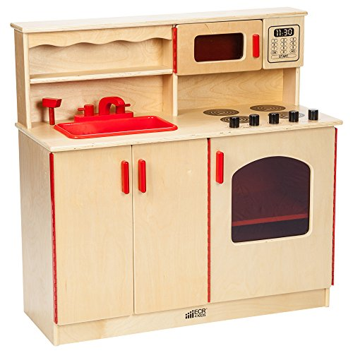 ECR4Kids Birch Pretend Play 4-in-1 Kitchen Playset for Daycare Natural