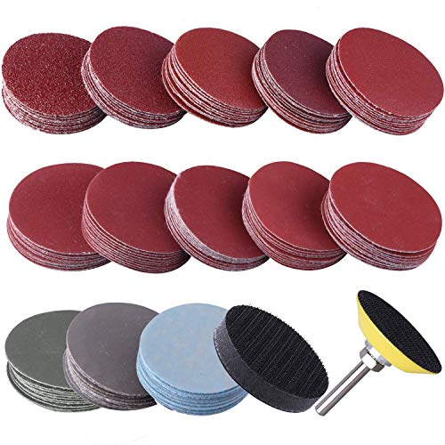 Sanding Discs Pad Kit2 Inch 80-3000 Grit SandpapersUspacific Backer Plate 14 Shank Sponge Cushions for Drill Grinder Rotary Tools130 pcs