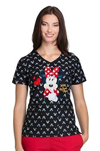 Cherokee Tooniforms By Womens V-Neck Minnie Mouse Print Scrub Top Medium Print