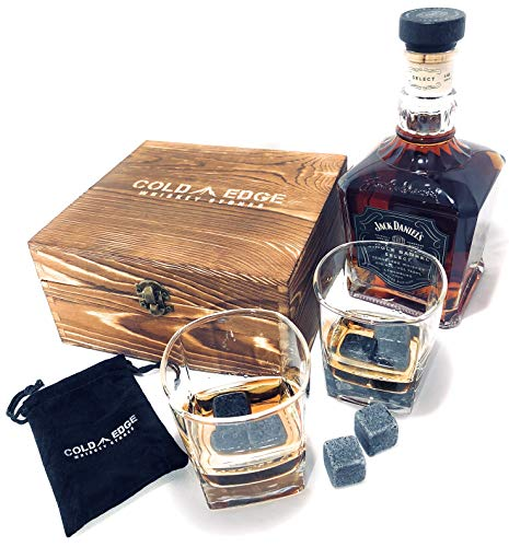 Whiskey Stones and Drinking Glasses Gift Set - 8 Granite Chilling Stones 2 Premium 9 Ounce Whiskey Glasses Display Case Chills Drink No Dilution Perfect Birthday Gift for Him or Barware Accessory