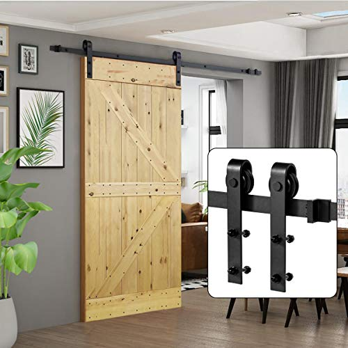 U-MAX 8 FT Heavy Duty Sturdy Sliding Barn Door Hardware Kit J Shape Hangers Super Smoothly and Quietly Simple and Easy to Install Fit 42-48 Wide Door Panel