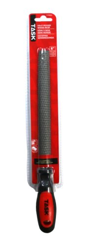 Task Tools T17955 8-Inch Half-Round Wood Rasp File with Soft Touch Rubber Grip