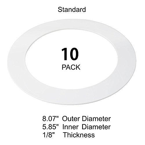 10 Pack White Goof Ring Trim Ring for Recessed Can and 6 Inch Down Light Ove