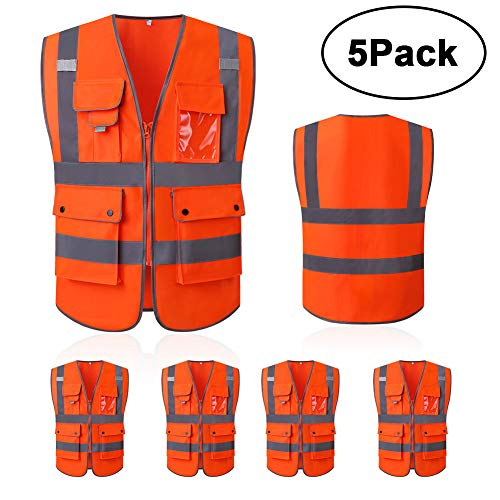 High Reflective and Breathable Safety Vest Bright Neon Color Construction Protector with Reflective Strips and Zipper