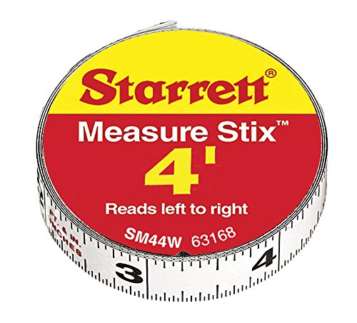 Starrett 63168 SM44W Steel Tape Measure with Adhesive Back 12-Inch x 4