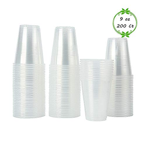 200 pack - 9 oz Tashiliving Crystal Clear PP Plastic CupsDisposable Cups