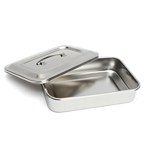 Stainless Steel Instrument Tray Organizer Holder with Lid Handle Grip