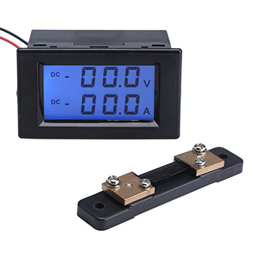 DROK Dual LCD Display DC Digital Multimeter 0-1999V 0-50A Voltage Amp Meter Voltmeter Ammeter