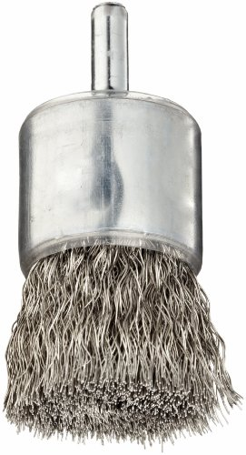 Weiler Wire End Brush Coated Cup Round Shank Stainless Steel 302 Crimped Wire 1 Diameter 00104 Wire Diameter 14 Shank 22000 rpm Pack of 1