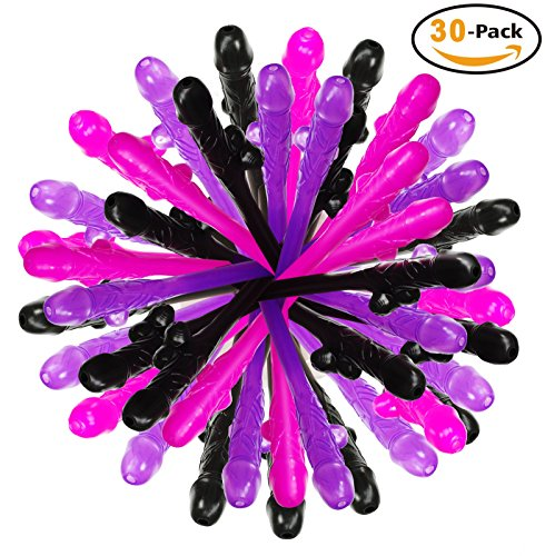 Sipping Straws for Bachelorette PartyBOMBEX Novelty Party Supplies30 Pack PinkBlackPurple