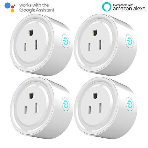 Kuled Smart Plug Mini Outlet Compatible with Alexa No Hub Required WiFi Wireless Energy Monitoring Remote Control Light Switch Socket White Smart plug 4pack