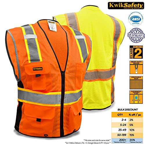 KwikSafety Class 2 Orange Deluxe Safety Vest  Hi Vis Breathable Mesh Heavy Duty Zipper Multi Pockets  High Visibility Men Women ANSI Certified Construction Security Traffic Work Wear 4XL5XL