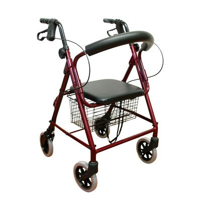 Low Seat Rollator Frame Color Metallic Burgundy Size Standard