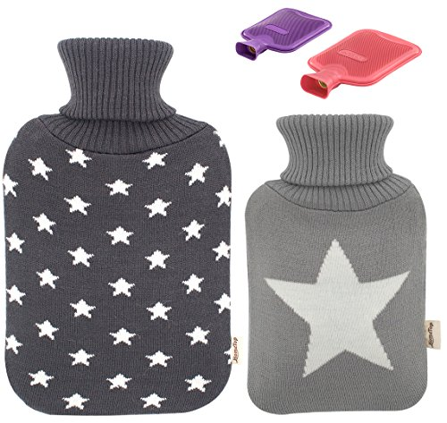 Premium Classic Rubber Hot Water Bottle and Star Print Knit Cover 2L  1L Dark Gray  Light Gray