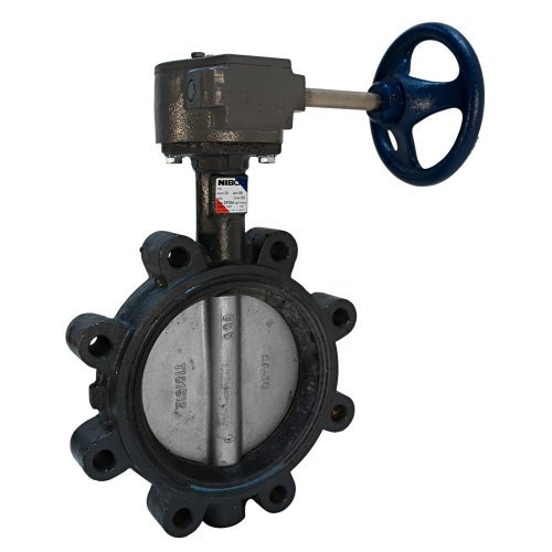 NIBCO LD-3122-5 Series Ductile Iron Butterfly Valve with Buna-N Liner and Stainless Steel Disc Gear Operator Lug 10