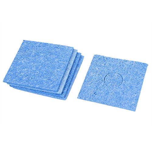 5pcs Blue Square Solder Iron Tip Welding Cleaning Sponge Cleaner Pad